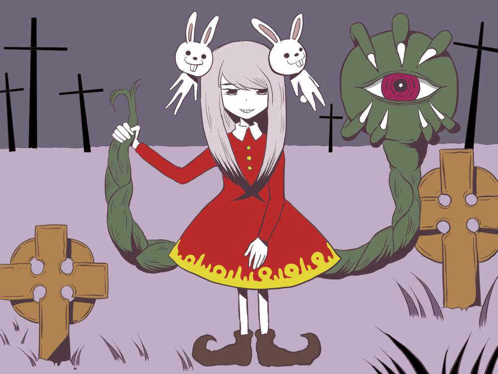 イラスト「墓場少女」