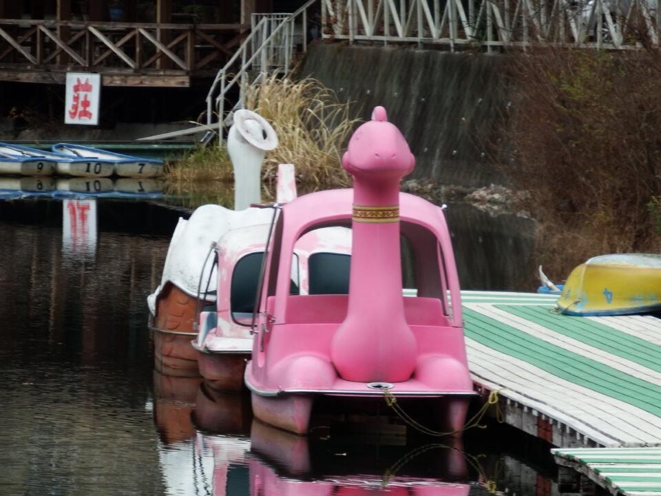 四尾連湖 恐竜 怪獣 ボート