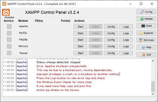 XAMPPが「Apache shutdown unexpectedly.~」エラーで起動しなくなった時の解決方法